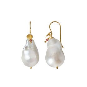 Stine A - BAROQUE PEARL EARRING WITH GEMSTONE 1PC   FORGYLDT