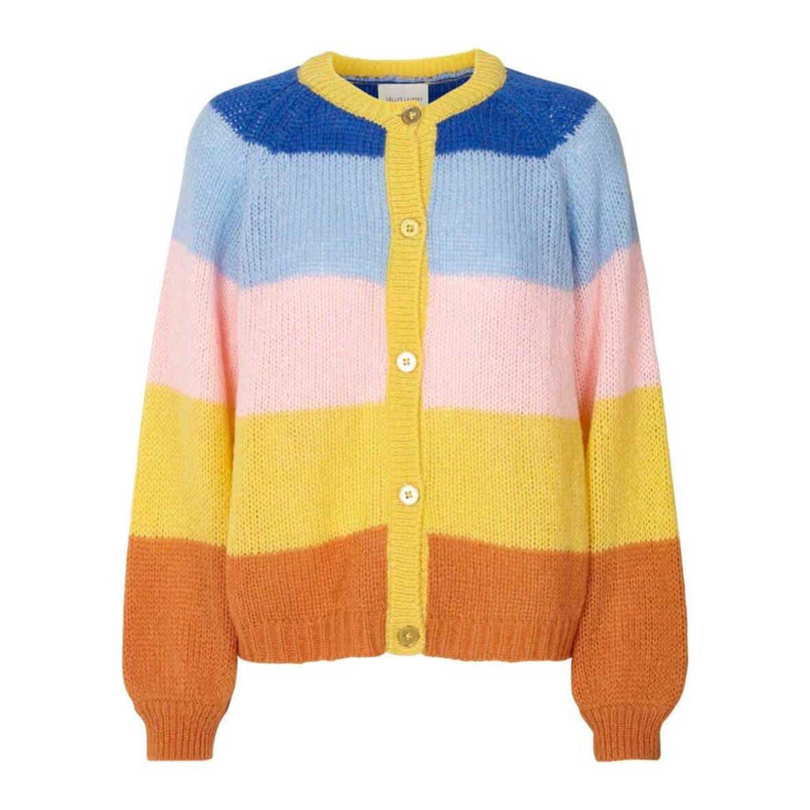 NOVA CARDIGAN | Pink | Stribet cardigan fra LOLLYS LAUNDRY