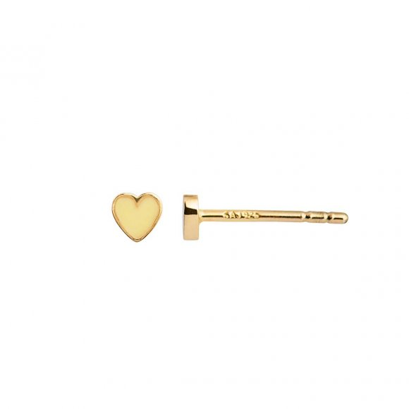 Petit Love Heart W/yellow Enamel 1pc | Forgyldt Fra Stine A