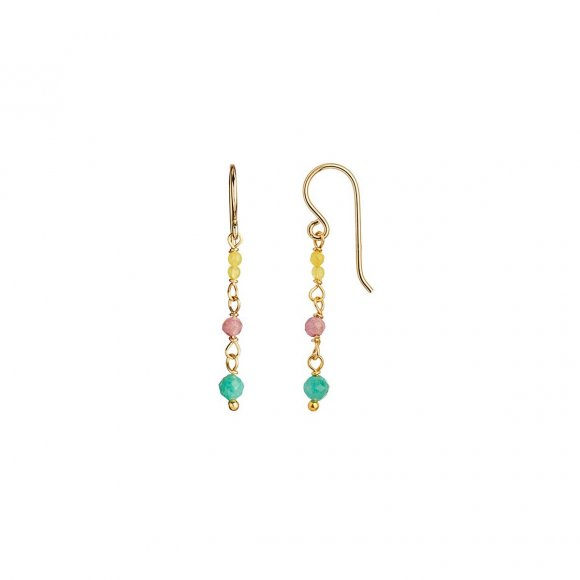 Petit Stone Earring On Hook - Light Candy Mix 1pc | Forgyldt Fra Stine A