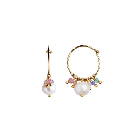 Petit Hoop With Pearl And Candy Stones Earring 1pc | Forgyldt Fra Stine A