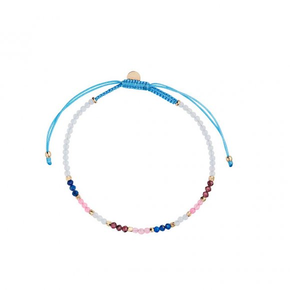 Iceblue Rainbow Mix With Blue Chalcedony, Garnet, Lapis And Pink Jade Fra Stine A