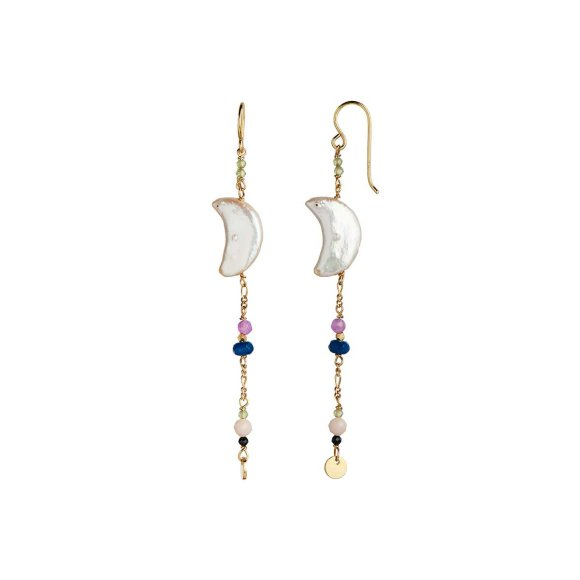 Midnight Moon Pearl Earring With Gemstone Long 1pc | Forgyldt Fra Stine A