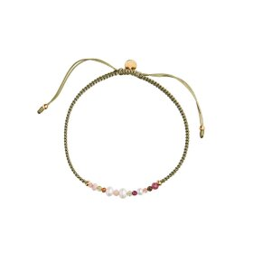 STINE A - CANDY BRACELET – WHITE FORREST MIX AND OLIVE GREEN RIBBON