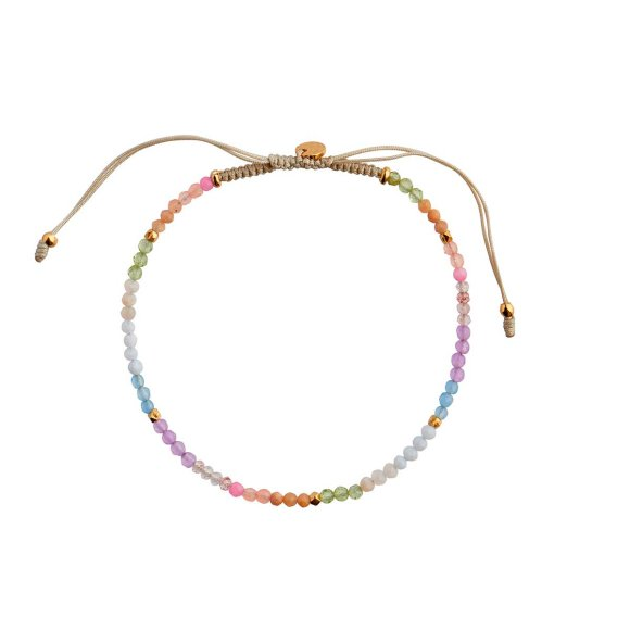 Soft Rainbow Mix With Sandy Grey Ribbon Bracelet Fra Stine A