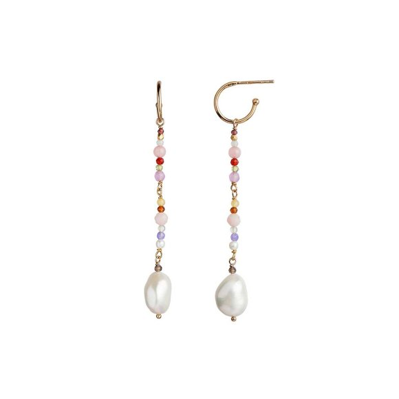 STINE A - DANGLING BAROQUE PEARL ØRERING M/STEN - PINK MIX