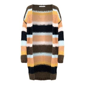 NOELLA - KALA LONG CARDIGAN | BROWN STRIPES