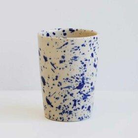 BORNHOLMS KERAMIKFABRIK - TALL CUP H10,5CM  | BLUE SPLASH