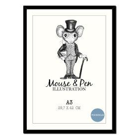 MOUSE & PEN - RAMME 70X100 CM M/GLAS   SORT