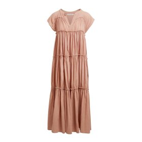 RABENS SALONER - GISELE COTTON FLARE LONG DRESS | BISCUIT