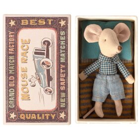 MAILEG - LITTLE BROTHER MOUSE IN MATCHBOX - 10 CM