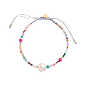 STINE A - COLOR CRUSH BRACELET WITH MULTI MIX AND LIGHT GREY RIBBON