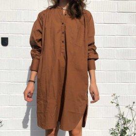 RABENS SALONER - DELIGHT COTTON POPLIN SHIRT DRESS | CHESTNUT