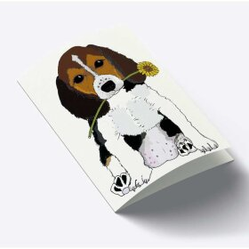 MOUSE & PEN - A7 KORT 7,5X10,5 CM   DOG WITH FLOWER