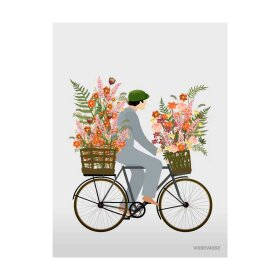 VISSEVASSE - A7 MINI GREETING KORT   BICYCLE WITH FLOWERS