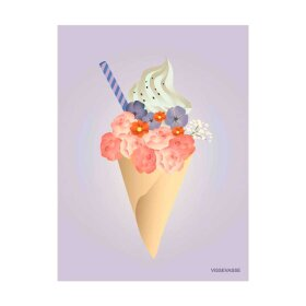VISSEVASSE - A7 MINI GREETING KORT   ICE CREAM FLOWER