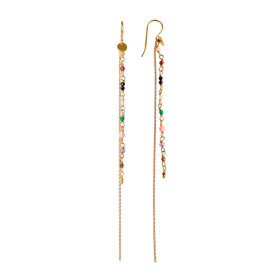 Stine A - PETIT GEMSTONES WITH LONG CHAIN EARRING 1PC | FORGYLDT